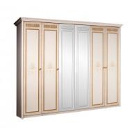 Шкаф 6-ти ств. для платья и белья (2 зеркала)